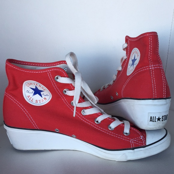 Red Converse All Star High Top Wedge Sneakers